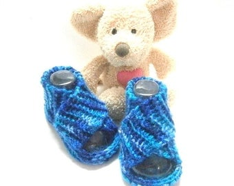 Blue handmade summer baby booties 0/3 months Tricotmuse