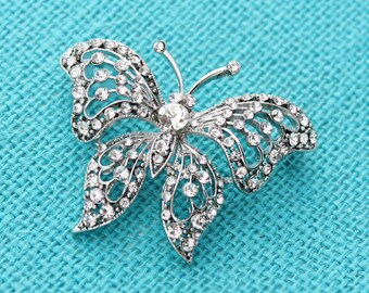 Rhinestone Butterfly Brooch Embellishment Bridal Bouquet Broaches Gown Sash Hair Comb Cake Decor DIY Crafts Butterfly Broach