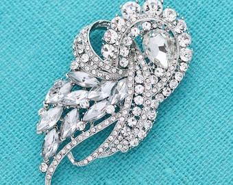 Crystal Rhinestone Brooch, Bridal Brooch, Dress Sash Brooch, Large Silver Crystal Brooch, Vintage Wedding Rhinestone Brooches, Cake Brooch