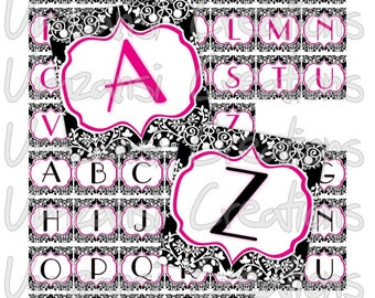 Digital Collage Sheet 1 inch squares - Printable Digital Sheet - Damask Print Pink and Black Alpha abc