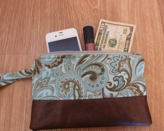 Light Blue Paisley/Faux Leather Wristlet-Ready to Ship!