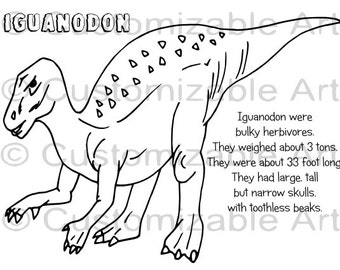 Popular Items For Coloring For Kids On Etsy Iguanodon Coloring Page