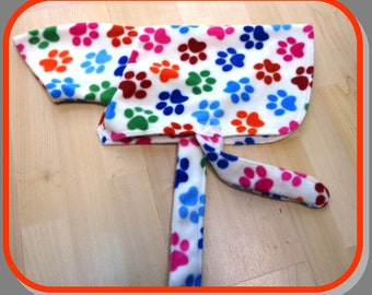 S- Fleece Dog Coats, Dressing Gown Style, Variety of Colours/Patterns, Dog Clothing
