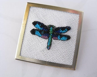 Dragonfly Pin. Dragonfly Brooch. Cross stitch pin. needlepoint pin. -022