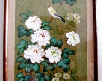 "Japanese Vintage Woodblock  #2  ""Yellow Bird on Cherry Blossom Tree"""