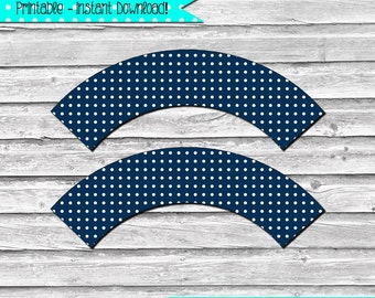 Navy Blue and White Polka Dot Printable Cupcake Wrapper Set –  DIY printable party supplies – birthdays & showers - INSTANT DOWNLOAD