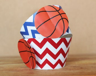 Printable 3D Basketball Cupcake Wrappers in red and blue chevron - sports party supplies - Diy printable party supplies - INSTANT DOWNLOAD