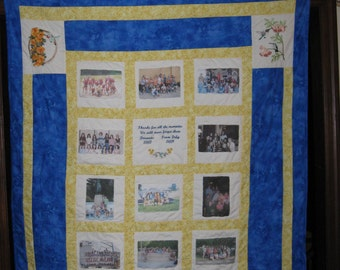 Custom Photo Memory Quilt w/ Embroidery.        The perfect gift idea for any occasion!  Unique and Personalized!
