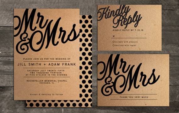 Mr And Mrs Wedding Invitation Package Including By InvitedStudio