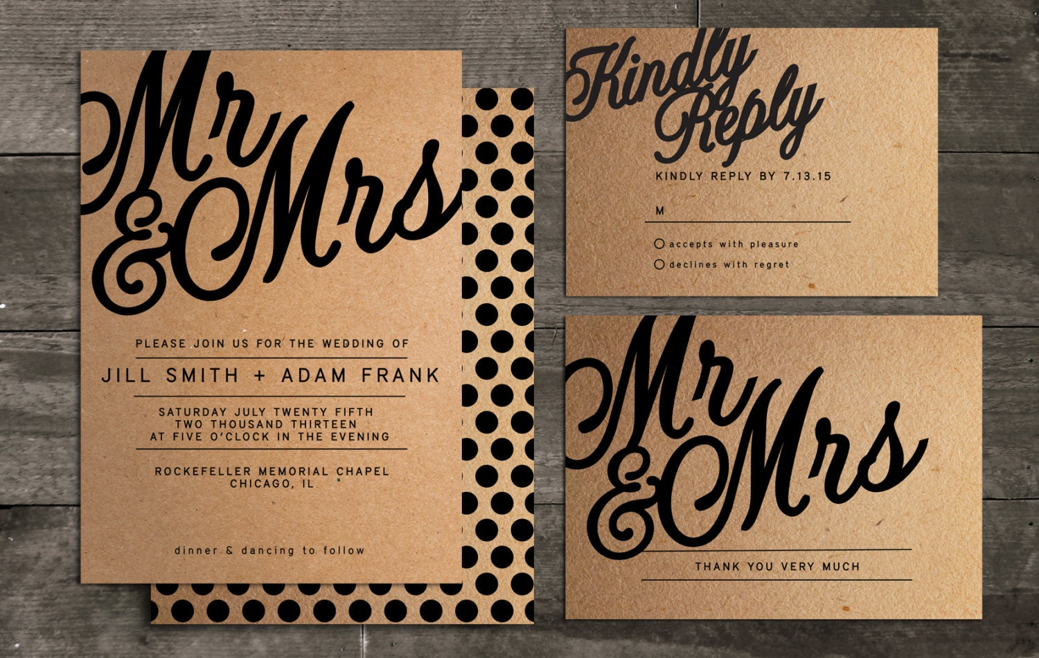 Ready To Print Wedding Invitations: Mr And Mrs Customizable Wedding Invitation Package