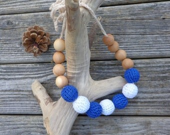 NAUTICAL Nursing Necklace / Breastfeeding Babywearing Teething Crocheted Cotton and wooden bead NECKLACE for mom