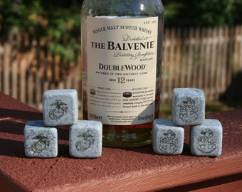 3 Engraved Whiskey Stones, Large Chilling Rocks, US Marine Corps, Navy, Army, Air Force, Coast Guard, Made in the USA