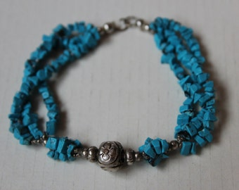 Vintage Turquoise and Silver Bracelet - Antique Silver and Turqoise Egyptian Bracelet