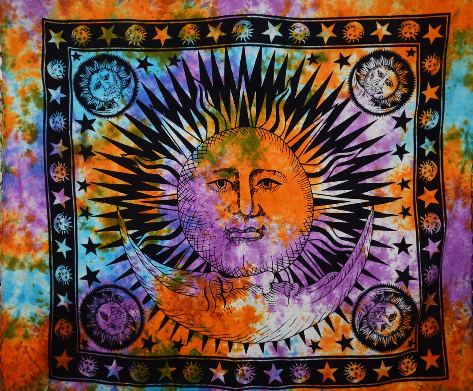 Sun and Moon Tapestry Wall Hanging Twin Bed Cover by Jaipurya