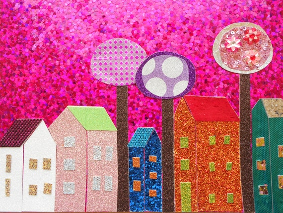 The neighbourhood 2 whimsical art funky art wall art decor for Funky wall art