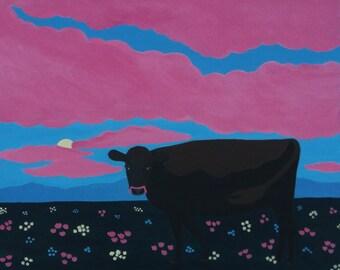 Cow Painting. Whimsical Folk Art.  Artist Eva Tormey.