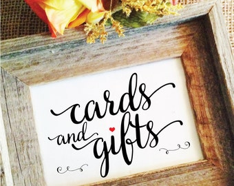 Cards and gifts wedding sign cards and gifts sign rustic wedding decor wedding reception decor rustic wedding signage (Frame NOT included)