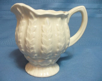 Vintage white / ecru embossed Art Deco creamer jug - 4-1/2 inches - Shorter & Son England - HS-TO-008