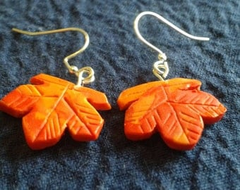 Maple leaf earrings red and Orange Autumn Leaves Earrings Thanksgiving Earrings Orange and Red Maple Leaf Earrings Thanksgiving Jewelry