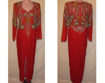 Long sleeve red gown #105