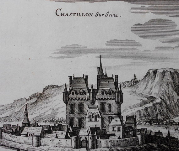 1660 view chatillon sur seine france by merian. Black Bedroom Furniture Sets. Home Design Ideas