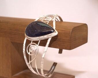 Goldstone Wire Wrap Cuff Bracelet