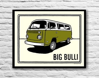 VW Volkswagen Vintage Van Poster Print in Green on Ivory