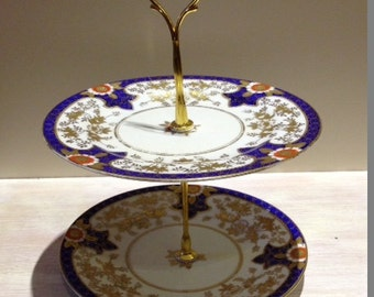 Vintage Chinese Style 2 Tier Blue And Gold Cake Stand
