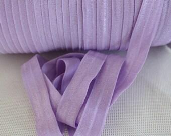 """Lavender Fold Over Elastic - 5 yards Fold Over Elastic - 5/8"""" Lavender Fold Over Elastic - Elastic By The Yard - Lavender FOE"""