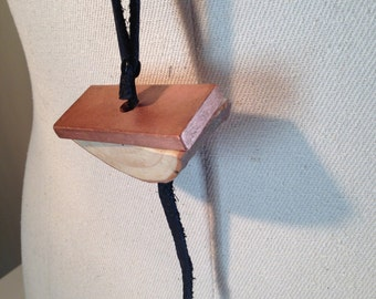 copper flat wood leather pendant