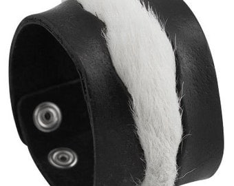 Black leather handmade bracelet, White Fur Cuff Bracelet Leather Wristband For Him For Her with a central strip of snowy white fur
