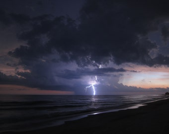 Lightning strikes. Anna Maria Island, Florida.