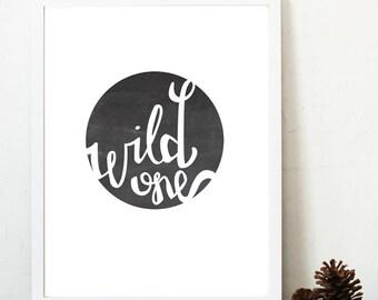 Wild One Nursery Print Instant Download / hand drawn / printable / woodland decor