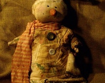 Primitive Handmade Cloth Snowgirl in Grungy Dress Complete Doll Ready To Ship