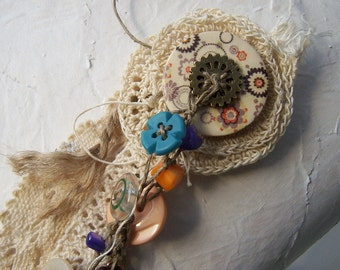 brooch with buttons, crochet brooch, brooch with lace,  eco friendly jewlery