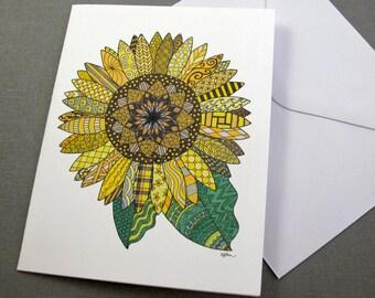 Sunflower Mendala Stationery Set - Set of 8 Blank Inside Card Set