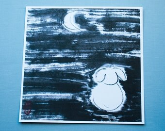 "Print: ""Bunny and the Moon"", Japanese ink drawing, sumi-e"