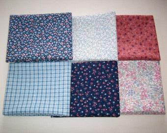 6 fat quarters blues,navy, rose floral ,vintage 100% cotton fabric
