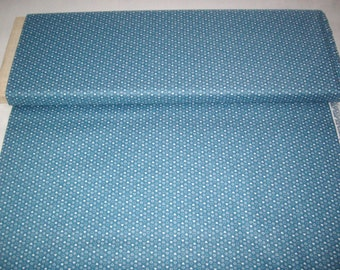 VIP vintage fabric, med. blue w/ white hearts and dots, by yard