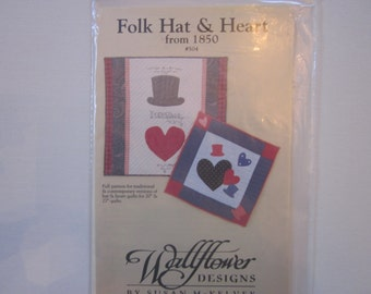 Folk Hat and Heart from 1850 #504, Wallflowers Designs, quilt pattern, traditional and contemporary versions