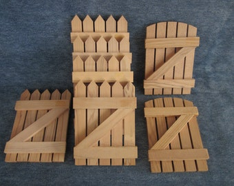 """7 small picket gate,fence,craft,wood,lot, 3""""x4"""""""