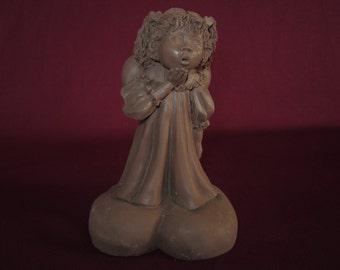 "Lil sweet #3412, girl angel w/ heart wings,4"" molded pecan resin figurine,unpainted"