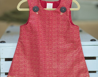 Handmade Cotton Red & Gold dress for a baby girl or a little princess.