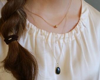 Gemstone Necklace Bezel Set Gemstone Delicate Gemstone Pendant Dainty Layering Necklace/ 14k gold Filled or Sterling Silver Chain •LP236-VP