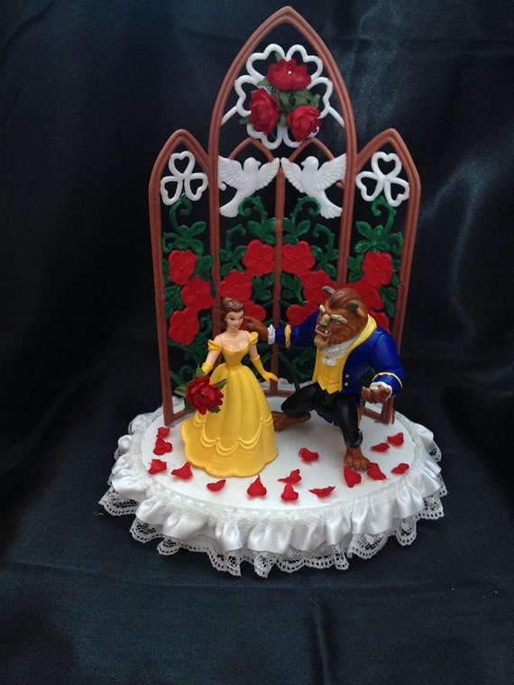beauty and the beast wedding cake topper rose and the beast by 1topper on etsy 11250