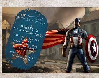 Captain America Birthday Party Invitation***Digital Invitation 4x6 or 5x7