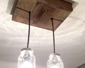 Barn Wood Mason Jar Chandelier (2 Jar)