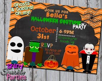 HALLOWEEN COSTUME PARTY Invitation - Halloween Party Invites - Halloween Birthday - Costume Party Invite Chalkboard Pumpkin Ghost dress up