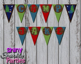 Printable CAMPING PARTY BANNER - Camping Pendant Banner - Camping Birthday Party Banner - Camping Happy Birthday Banner - Camping Decoration