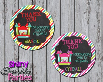 BOUNCE HOUSE FAVOR Tags - bounce birthday party favor printable sticker - bounce house thank you - bounce house thank you tags  bounce party